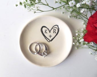 Ring holder, Wedding ring dish,  Engraved monogram initial tray,  Engagement or Wedding Gift, Black and White,  Made to Order