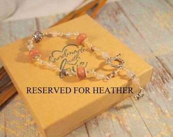 RESERVED For Heather, Rhodonite and Quarts Beaded Bracelet,  Fleur De Lis Dangle Beaded bracelets, Bead Link Bracelet, Gift for Her.
