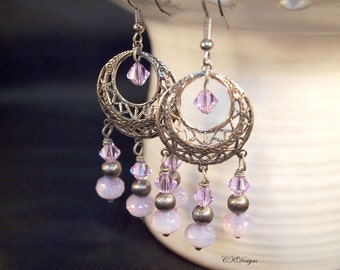 Purple Gun Metal Earrings, Purple Chandelier Pierced or Clip on Earrings. Bohemian Jewelry, Unique Hippie Chic Dangle Earrings CKDesigns.US