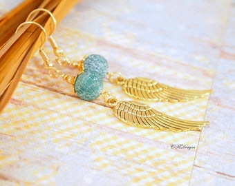 Fire Dragon Veins Agate Earrings Gemstone Earrings Angel Wing Earrings Green Agate Pierced or Clip-On Earring Gift for Her Bohemian Earrings