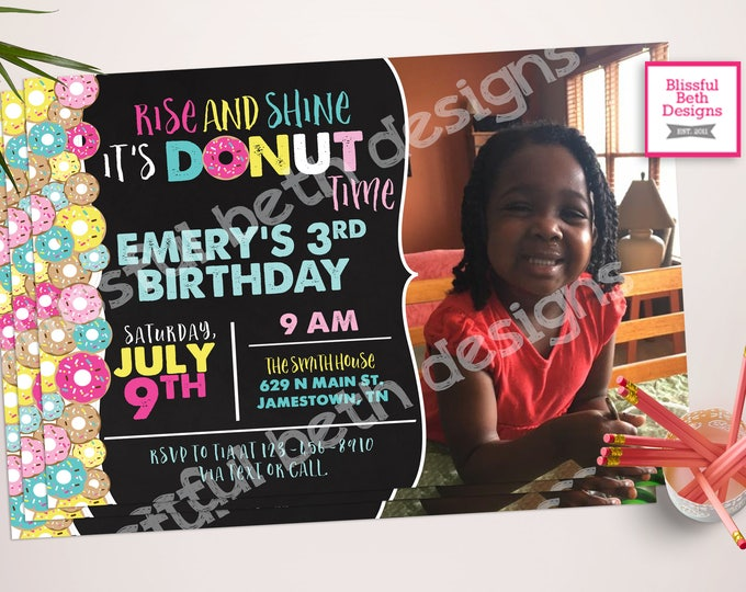DONUT BIRTHDAY INVITATION, Donut Miss This,  Birthday Invitation, Donut Birthday Photo Invite, Donut Birthday, Donut, Donut Birthday Girl