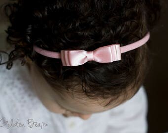 Little Soft Pink Baby Headband - Flower Girl Headband - Little ELLA Soft Pink Satin Bow Handmade Headband - Baby to Adult Headband