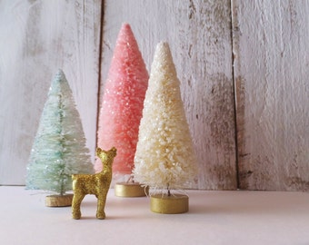 "Bottlebrush Christmas Tree Set of Three  ~ Little Deer Center Piece ~ Pink, Mint, Cream 6"", 4.5"" & 4"""