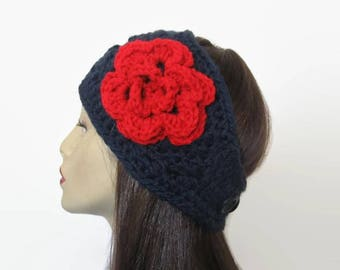 Blue Crochet  Headband with Red Flower Navy Blue Headband Crochet earwarmer Wide Headband Blue and Red crochet Head wrap knit Ear warmer