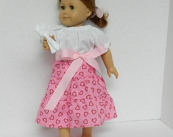 18 Inch Doll Pink Skirt - Girls' Easter Basket Gift - Little Girls' Birthday Gift - Valentine's Day Doll Outfit - 18 Inch Doll Skirt and Top