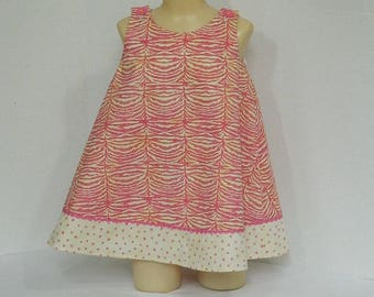 Girls' Pink A Line  Dress - Pink and Yellow Zebra Print - Toddler Sleeveless Dress - Easy On Children's Summer Wear - Boutique Clothing
