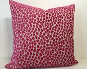 Magenta pink LEOPARD spot on natural linen back ground square cushion cover in Lorca TUPAI fabric by MoGirl DESIGNS, statement cushion cover