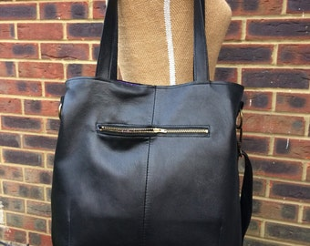 Recycled leather bag - Hobo style bag made with soft supple Black leather-detachable adjustable strap-shoulder or hand held.