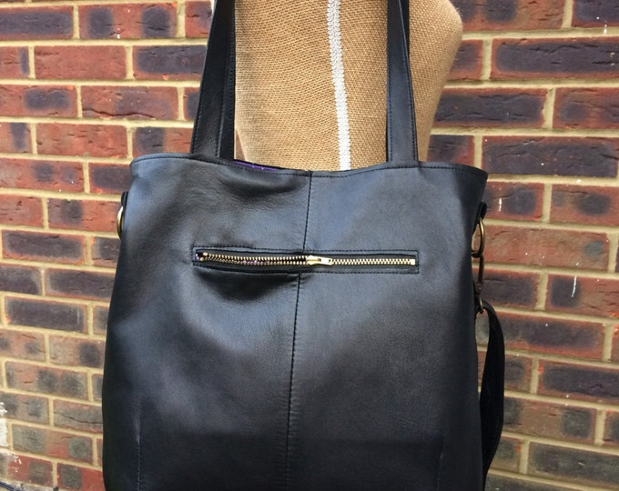 Recycled leather bag - Hobo style bag made with soft supple Black leather-detachable strap-shoulder or hand held.Get 30% off see details .