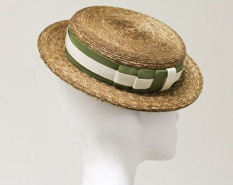The Tokio Hat - Boater Hat - Summer Hat w/Double Ribbon Detail