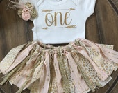 3 Piece Pink and Gold Fabric Outfit First Baby Outfit Matching Headband