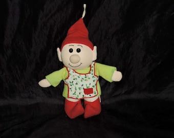 Vintage 1983 Christmas Elf Stuffed Toy Fun Farm Holly Apron Green Red Felt Hat Holiday Decoration