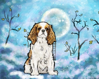 King Charlies Cavalier Spaniel Print(8x10 inch, 12x16 inch, 16x20 inch Paper or Canvas prints) Art Luster Dogs Pets Evening Night sky Stars
