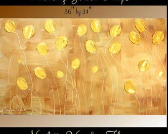 "ORIGINAL 36""Abstract Acrylic gallery canvas-Contemporary Modern Golden Dancing Tulips painting by Nicolette Vaughan Horner"