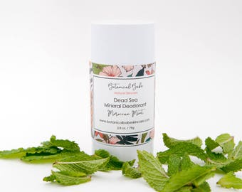 All Natural Dead Sea Mineral Deodorant in Moroccan Mint, Baking Soda Free, All Natural