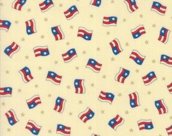 SEW AMERICAN- by the yard Moda fabric USA flags on cream background cotton 19781-11 patriotic, Americana Deb Strain