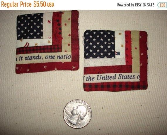 15% off thru May1st Miniature log cabin USA Flag pin Patriotic
