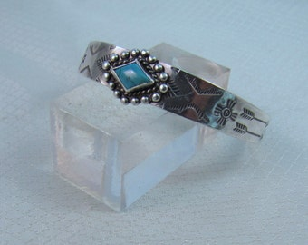 Unsigned Navajo Styled Old Pawn Sterling Bracelet with Turquoise Center