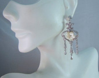 c1980's Sterling Victorian Styled Chandelier Earrings with Mother of Pearl Flowers and Crystals