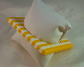 "1980's Yellow and White Striped Luctie Square Bangle 7-3/4"" Bangle"