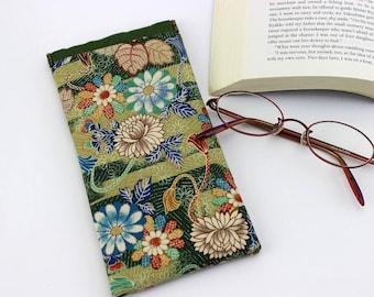 Cute Glasses Case, Kimono Glasses Case, Reading Glasses Case, Case For Glasses, Chrysanthemum Green