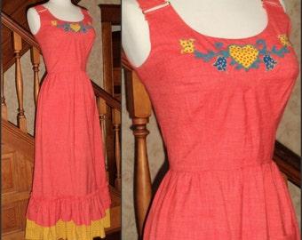 Bavarian Drindl Maxi Dress LANZ ORIGINAL Austrian Pinafore S Vintage 60's October Fest Applique Calico Ruffle