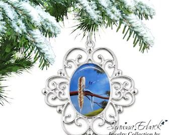 Rapunzel Christmas Tree Ornament - Blue Butterfly Ornament - Fairy Ornament Fairy Tale Rapunzel Charm with Artwork by Shawna Erback