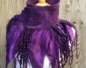 Woodland Felted scarf-silk scarf - purple scarf - gothic scarf- woodland scarf- bohoscarf-winter scarf-silk scarf-gift for her