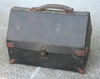 Antique 1913-1914 THERMOS Workmans kit vintage Sportsmans Lunch Box rare !