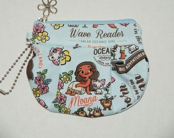 """Gathered Zipper Pouch / Card and Coin purse Made with Japanese Cotton Oxford Fabric """"Moana - Light Blue"""""""