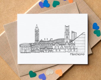 Manchester Landmarks Greetings Card - Manchester Skyline Art - Manchester Art - blank Manchester card - card for Mancunian