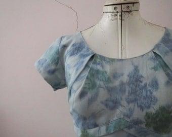 Vintage 50s 60s Floral Pastel Blue Sheath Dress Small