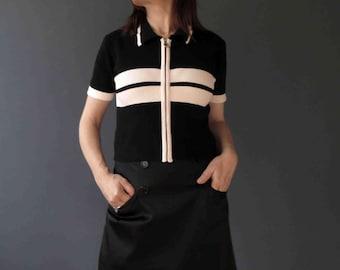 90s Black White Stripe Zip Up Cardigan 70s Style