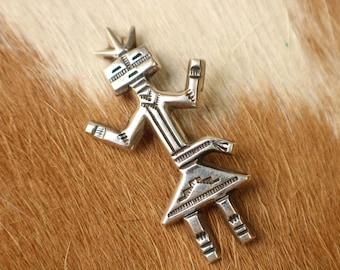 Navajo Kachina Brooch / Sterling Southwest Jewelry / Vintage Silver Dancing Kachina Pin