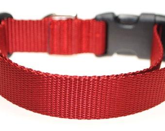 "Dark Red Webbing - 1"" Wide Adjustable Dog Collar"