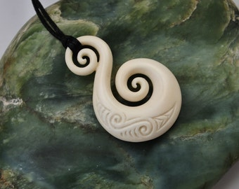 Bone Koru~new beginnings and friendship  Handcarved and engraved