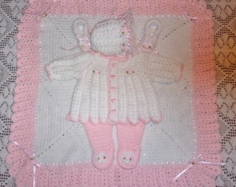 Crochet Baby Girl Sweater Set Bonnet Leggings Booties and Blanket Layette Perfect For Baby Shower Gift or Newborn Coming Home outfit