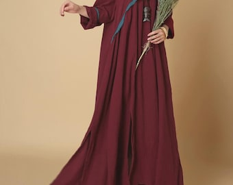 Spring pullover cotton long dress dark blue Loose Long sleeved oversized dress