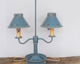 Reserved Vintage Tabletop Lamp Country Blue Double Shaded 2 Arm Light
