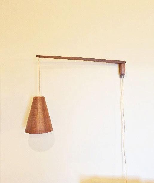 sale pair of danish modern teak wall mount swing arm lamp. Black Bedroom Furniture Sets. Home Design Ideas
