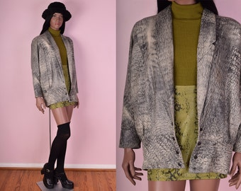 80s Printed Leather Jacket/ Medium/ 1980s/ Dolman Sleeve/ Coat