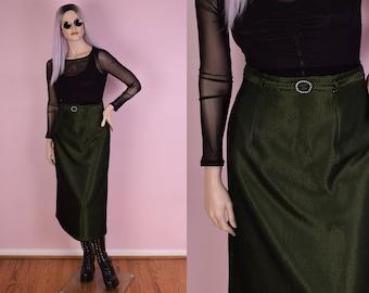 90s Green and Black Mesh Skirt/ 30-31 Waist/ 1990s