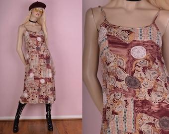 90s Lightweight Printed Boho Dress/ Small/ 1990s/ Summer/ Tank/ Sleeveless