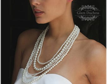 Bridal jewelry set, long pearl necklace, Wedding jewelry, backdrop necklace, bridal necklace, pearl jewelry, bridal earrings, party jewelry
