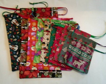 10 Assorted Christmas Drawstring Fabric Gift Bag, Reusable, Sustainable, Eco Friendly