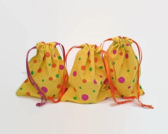 Pink, Orange and Green Dotted Yellow Birthday Drawstring Fabric Gift Bag Upcycled, Reusable