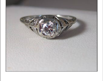 Antique Art Deco 18k .30 Ct. Diamond Filigree Engagement Ring