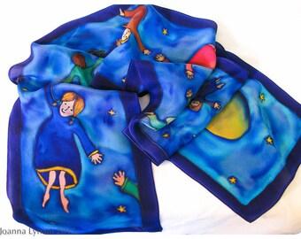 """Hand painted silk wallhanging. Dream Children. 8x52"""".  Handpainted silk scarves. Hand-painted silk scarf. Painted silk scarf. Painted silk"""