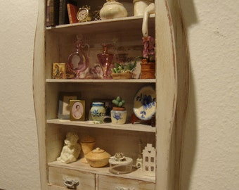 dollhouse miniature furniture   in mahogany wood decorated shabby chic, white