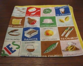 "13 square inch ""Calories"" handkerchief"
